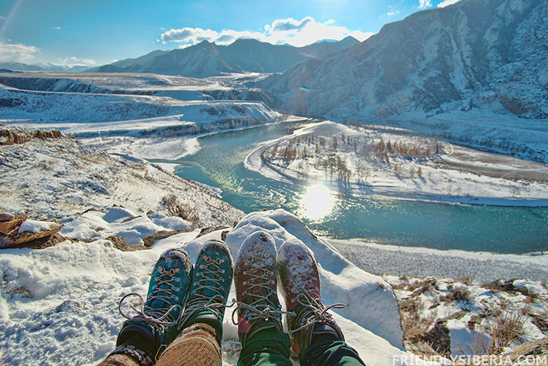 Travel to Russia. Travel to Siberia. Mountains trekking in Russia. Altai. Katun Chuya river.