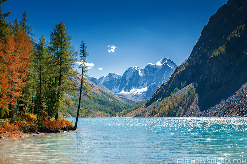 Shavlinsky lake. Altai mountains. Altay travel. Travel to Siberia.